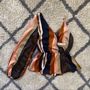 Striped Satin One Shoulder Top